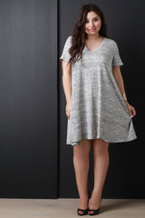Melange Knit V-Neck Tee Dress
