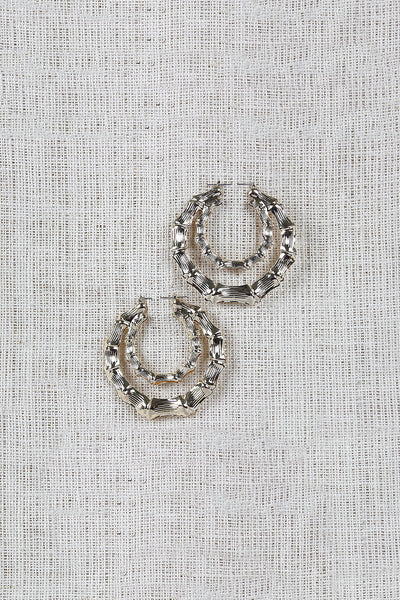 Etched Panel Double Hoop Earrings