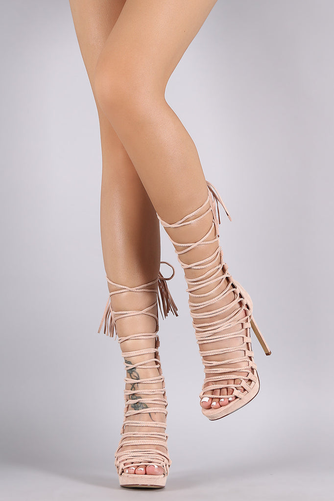 Liliana Suede Tassel Lace Up Stiletto Heel