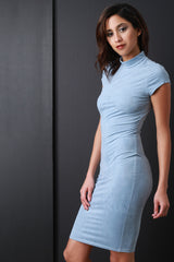 Suede Mock Neck Bodycon Dress