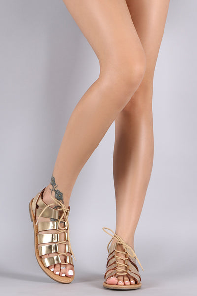 City Classified Gladiator Lace Up Flat Sandal