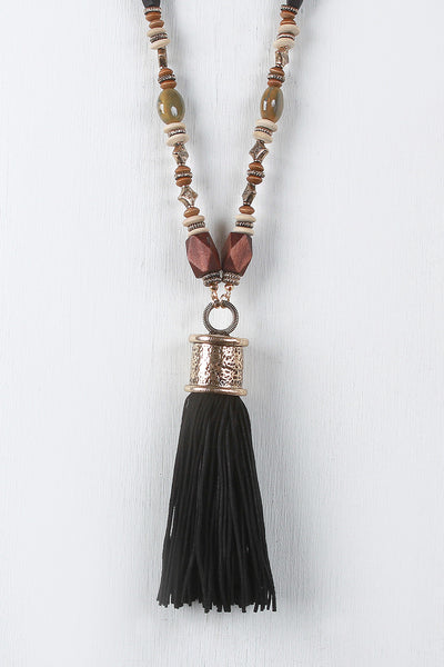 Boho Suede Cord Tassel Necklace