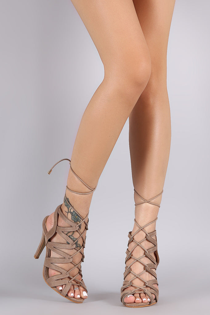 Suede Strappy Caged Corset Lace Up Heel