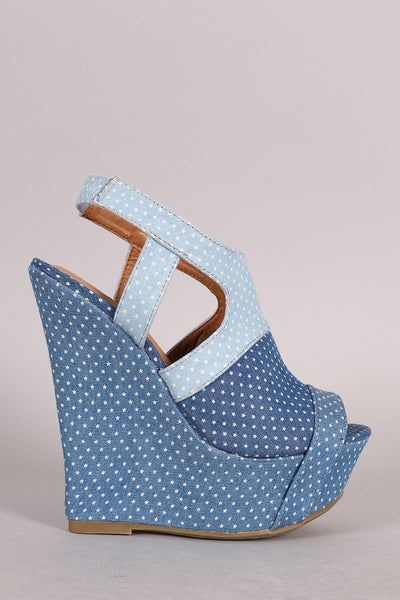 Bamboo Colorblock Denim Star Print Platform Wedge