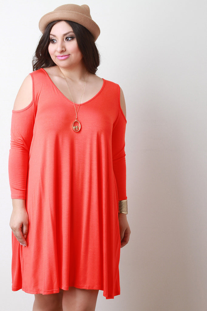 Relaxed Jersey Knit Cold Shoulder Dress