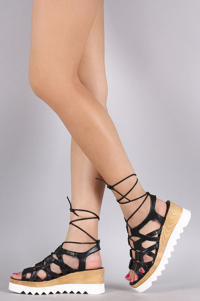 Vegan Leather Caged Lug Sole Flatform Wedge