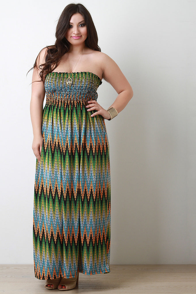 Zig Zag Empire Waist Strapless Maxi Dress