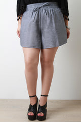 High Waist Chambray Shorts