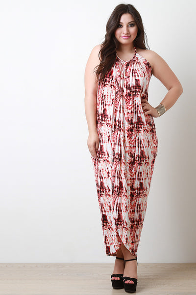 Abstract Halter Front Slit Maxi Dress