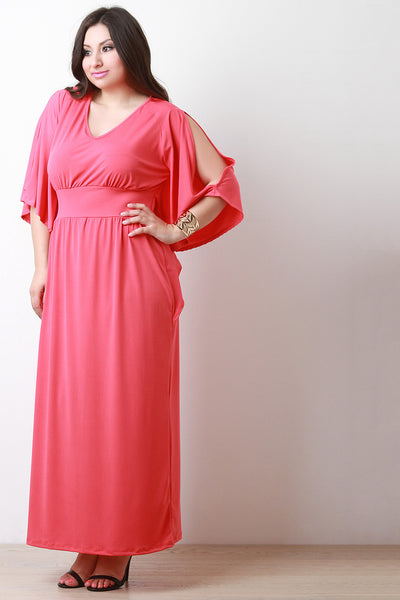 Empire Waist Cold Shoulder Maxi Dress