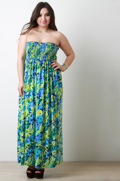 Abstract Empire Waist Strapless Maxi Dress