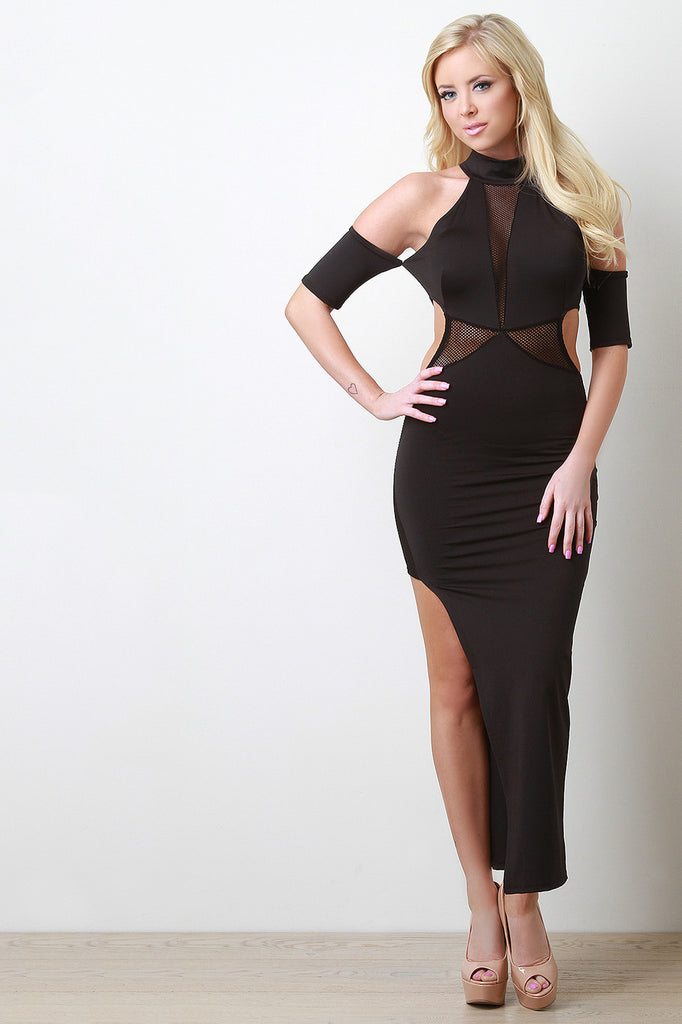 Fishnet Panel Cut Out Maxi Dress