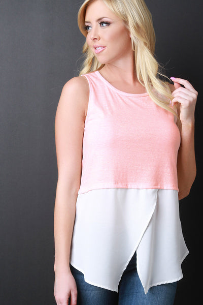 Asymmetrical Two Tone Sleeveless Top - JDI Threads