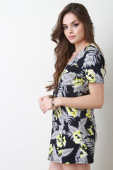 Tropical Print Short Sleeve Shift Dress
