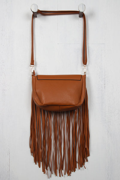 Fringe and Braid Vegan Leather Bag