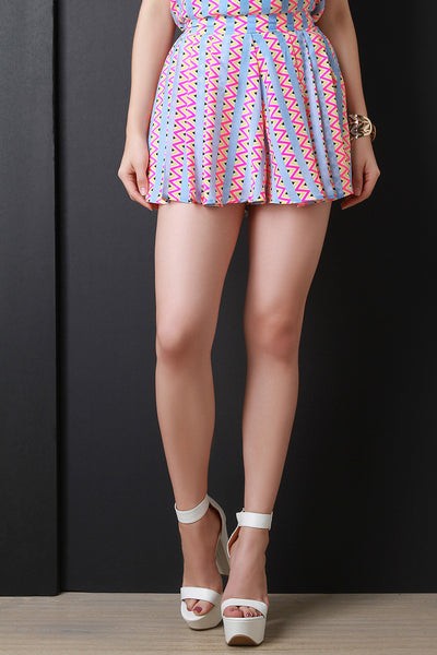 Neon Zigzag High Waist Pleated Shorts