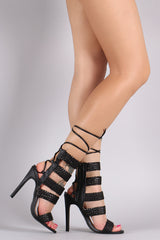 Strappy Woven Back Lace Up Stiletto Heel
