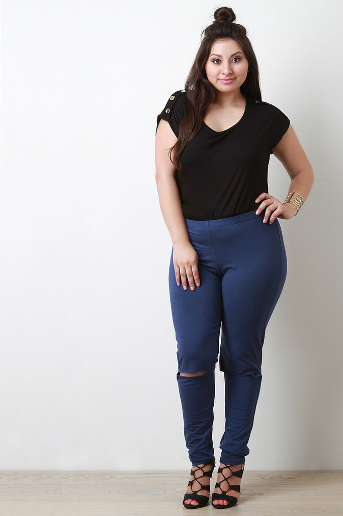 Solid Knee Slit Leggings