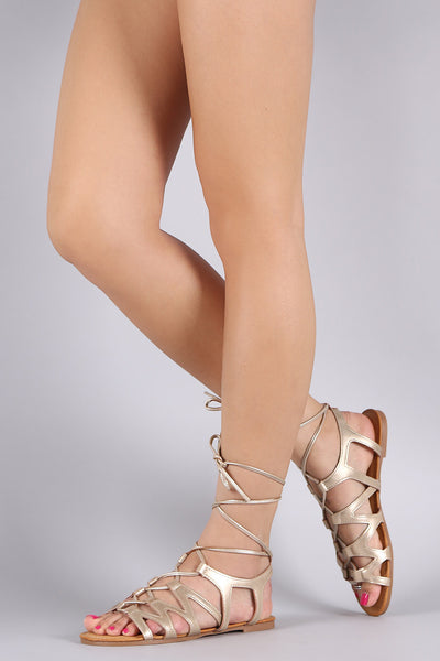 Bamboo Leg Wrap Lace Up Gladiator Sandal