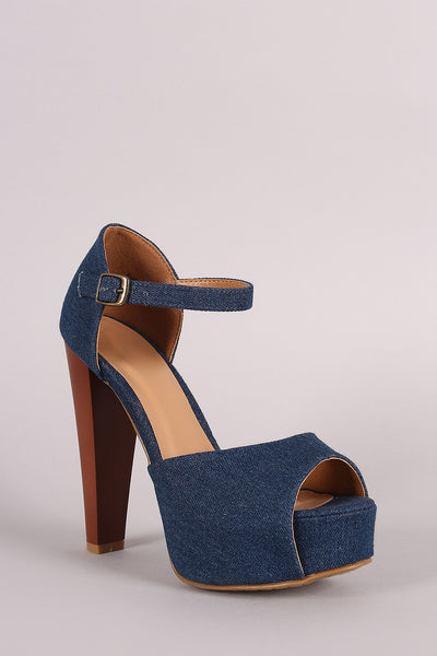 Bamboo Denim Peep-Toe One Band Counter Platform Heel