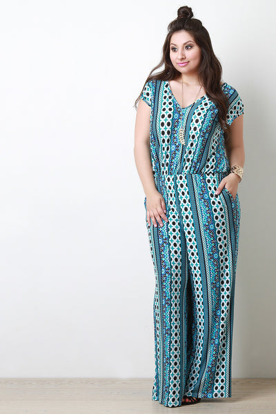 Abstract Print Short Sleeved Jumpsuit