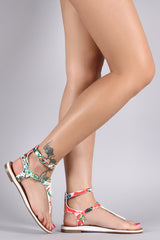 Soda Floral Buckled T-Strap Thong Flat Sandal