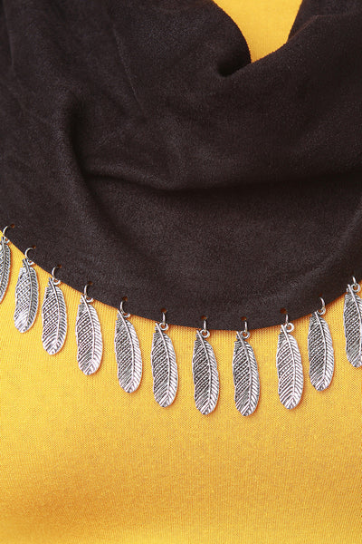 Vegan Suede Feather Charm Scarf