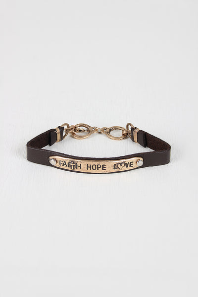 Vegan Leather Faith Hope Love Bracelet