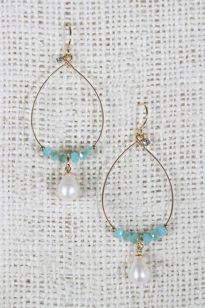 Stones And Pearl Dangle Earrings