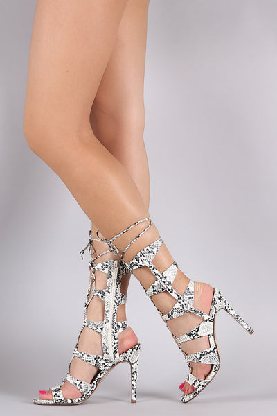 Breckelle Python Strappy Corset Lace Up Stiletto Heel