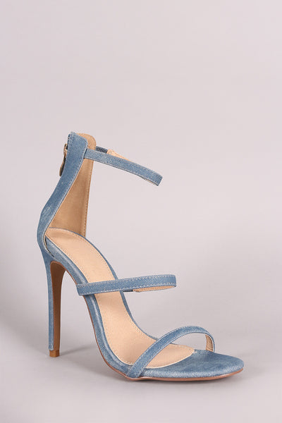 Liliana Denim Open Toe Triple Straps Single Sole Heel