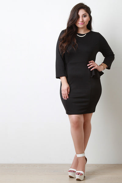 Cocktail Peplum Long Sleeves Bodycon Dress