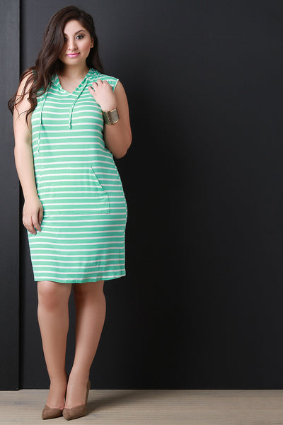 Jersey Striped Sleeveless Hooded Midi Dress