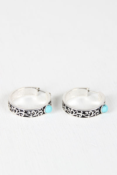 Filigree Hoop Turquoise Stone Earrings
