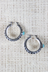 Twisted Hoop Turquoise Stone Earrings
