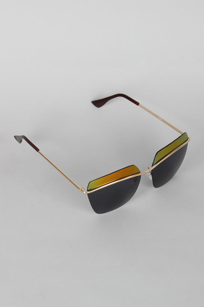 Two Tone Rimless Wide Sunglasses