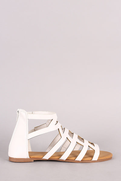 Bamboo Caged Cutout Gladiator Flat Sandal - JDI Threads