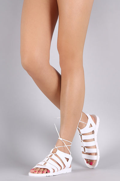 Bamboo Strappy Lace-Up Jelly Flat Sandal