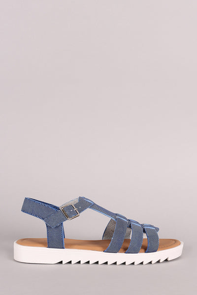 Bamboo Denim Strappy Lug Sole Fisherman Flat Sandal - JDI Threads