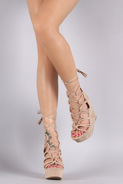 Wild Diva Lounge Suede Strappy Lace-Up Platform Wedge