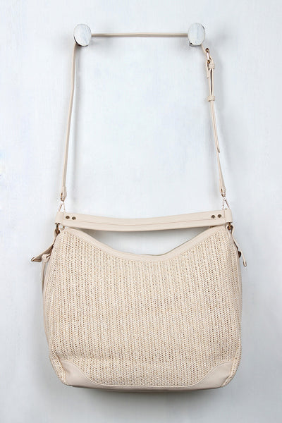 Straw and Vegan Leather Tassel Handbag