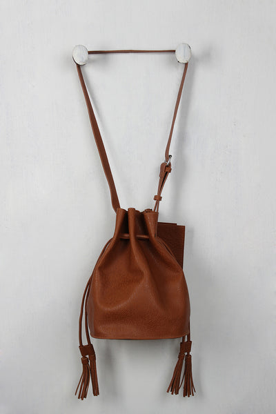 Double Tassel Drawstring Bucket Bag
