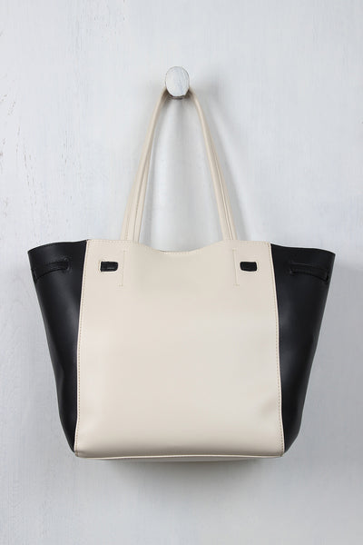 Classic Two-Tone Vegan Leather Tote