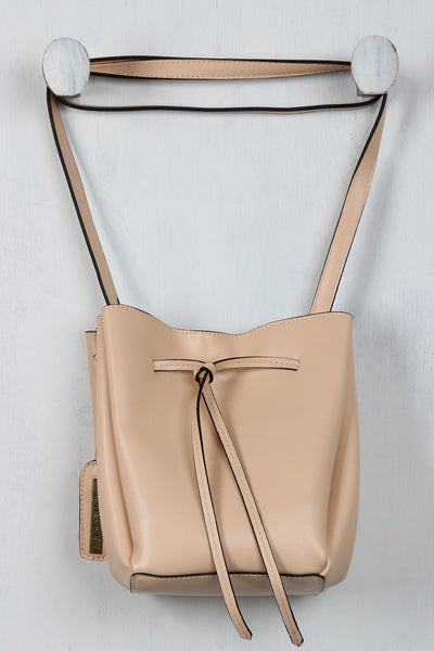 Vegan Leather Drawstring Bucket Bag