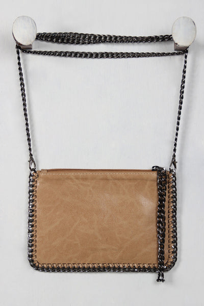 Vegan Leather Chain Trim Clutch Bag