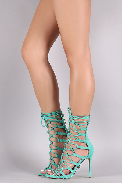 Vegan Suede Strappy Loop Lace Up Heels