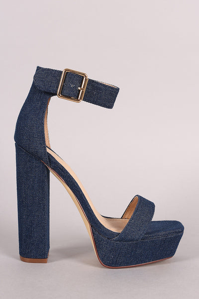 Liliana Denim Buckled Ankle Strap Chunky Platform Heel