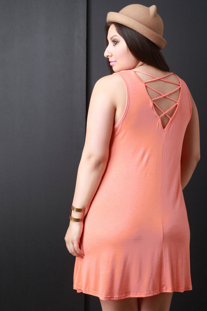 Strappy-Back Sleeveless Shift Dress