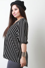 Vertical Stripes Zipper Front Blouse