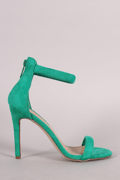 Breckelle Suede Open Toe Stiletto Heel